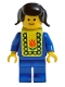 Minifig No: pln108s  Name: Plain Blue Torso with Blue Arms, Blue Legs, Black Pigtails Hair, Yellow Vest with Baby Bib Pattern (Stickers)