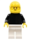 Minifig No: pln114  Name: Plain Black Torso with Black Arms, White Legs, Yellow Helmet