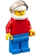 Minifig No: pln182  Name: Plain Red Torso with Red Arms, Blue Legs, White Helmet, Trans-Black Visor