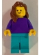 Minifig No: pln184  Name: Plain Dark Purple Torso with Dark Purple Arms, Medium Azure Legs, Reddish Brown Female Hair over Shoulder