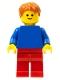 Minifig No: pln186  Name: Plain Blue Torso with Blue Arms, Red Legs, Dark Orange Hair