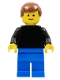 Minifig No: pln188  Name: Plain Black Torso with Black Arms, Blue Legs, Reddish Brown Male Hair
