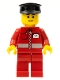 Minifig No: post010a  Name: Post Office White Envelope and Stripe, Red Legs, Black Hat, Black Eyebrows