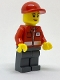 Minifig No: post011  Name: Post Office White Envelope and Stripe, Dark Bluish Gray Legs, Red Short Bill Cap