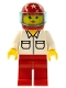 Minifig No: rac010  Name: Shirt with 2 Pockets, Red Legs, Red Helmet 7 White Stars, Trans-Light Blue Visor
