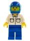 Minifig No: rac011  Name: Shirt with 2 Pockets, Blue Legs, Blue Helmet, Trans-Light Blue Visor