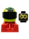 Minifig No: rac091  Name: Racer, Black Balaclava, Lime Helmet with Pattern, Red Body