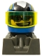 Minifig No: rac092  Name: Racer, Blue Sunglasses, Blue Helmet with Pattern, Dark Gray Body