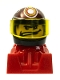 Minifig No: rac093  Name: Racer, Wide Mouth, Black Helmet with Pattern, Red Body