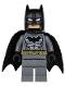 Minifig No: sh151  Name: Batman - Dark Bluish Gray Suit, Gold Belt, Black Hands, Spongy Cape