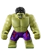 Minifig No: sh173  Name: Big Figure - Hulk with Black Hair and Dark Purple Pants with Avengers Logo