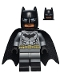 Minifig No: sh204  Name: Batman - Dark Bluish Gray Suit, Gold Belt, Black Hands, Spongy Cape, Black Boots