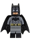 Minifig No: sh218  Name: Batman - Dark Bluish Gray Suit, Gold Belt, Black Hands, Spongy Cape, Large Bat Logo