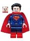 Minifig No: sh220  Name: Superman - Dark Blue Suit, Tousled Hair, Red Boots