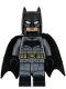 Minifig No: sh437  Name: Batman - Dark Bluish Gray Suit, Gold Belt, Black Hands, Large Bat Logo, Printed Legs, Stubble