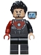 Minifig No: sh584  Name: Tony Stark - Black Iron Man Suit with Dark Red Right Arm