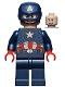 Minifig No: sh686  Name: Captain America - Dark Blue Suit, Red Hands, Helmet