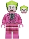 Minifig No: sh704  Name: The Joker - Dark Pink Suit, Open Mouth Grin / Closed Mouth
