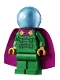Minifig No: sh709  Name: Mysterio, Light Bluish Gray Head, Satin Trans-Light Blue Helmet, Double Hole Cape
