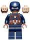 Minifig No: sh736  Name: Captain America - Dark Blue Suit, Reddish Brown Hands, Helmet