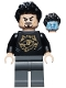 Minifig No: sh747  Name: Tony Stark - Black Top with Gold Pattern