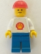Minifig No: shell014  Name: Shell - Classic - Blue Legs, Red Construction Helmet (Torso with Trapezoid Sticker)