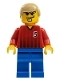 Minifig No: soc063  Name: Soccer Player - Red and Blue Team with Number 5