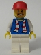 Minifig No: soc114s  Name: Soccer Fan Blue - White Legs, Striped Scarf Torso Sticker