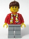 Minifig No: soc115s  Name: Soccer Fan Red - Sand Blue Legs, Striped Scarf and Dots Pattern Torso Sticker