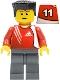 Minifig No: soc131s  Name: Soccer Player - Adidas Logo Red Torso Stickers (#11)