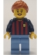 Minifig No: soc146  Name: Soccer Fan - FC Barcelona, Female, Medium Blue Legs