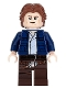 Minifig No: sw0879  Name: Han Solo, Dark Brown Legs with Holster Pattern, Dark Blue Jacket, Wavy Hair