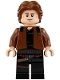 Minifig No: sw0921  Name: Han Solo, Black Legs with Holster Pattern, Brown Jacket with Black Shoulders