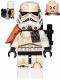 Minifig No: sw0961  Name: Sandtrooper Squad Leader (Captain) - Orange Pauldron, Ammo Pouch, Dirt Stains, Survival Backpack