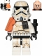 Minifig No: sw0992  Name: Sandtrooper Squad Leader/Captain - Orange Pauldron, Ammo Pouch, Dirt Stains, Survival Backpack (Dual Molded Helmet)