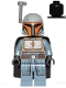 Minifig No: sw1077  Name: Mandalorian Tribe Warrior - Female, Black Cape, Light Bluish Gray Helmet with Antenna / Rangefinder
