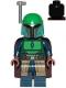 Minifig No: sw1078  Name: Mandalorian Tribe Warrior - Female, Dark Brown Cape, Green Helmet with Antenna / Rangefinder