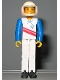 Minifig No: tech003a  Name: Technic Figure White Legs, White Top with Red Stripes Pattern, Blue Arms, White Helmet (Skier)