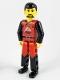 Minifig No: tech008  Name: Technic Figure Red/Black Legs, Red Top, Black Hair (Fireman)