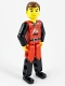 Minifig No: tech009  Name: Technic Figure Red/Black Legs, Red Top, Brown Hair (Fireman)