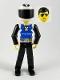 Minifig No: tech019a  Name: Technic Figure Black Legs, White Top with Police Logo, Black Arms, White Helmet, Black Visor