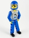 Minifig No: tech021a  Name: Technic Figure Blue Legs, Light Gray Top with Orca Pattern, Blue Arms, Blue Helmet
