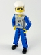 Minifig No: tech021b  Name: Technic Figure Blue Legs, Light Gray Top with Orca Pattern, Blue Arms, White Helmet