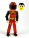 Minifig No: tech023as  Name: Technic Figure Red Legs, Red Top with Black 'FIRE', Black Arms (Fireman), Red Helmet with Flame, Black Visor - with Sticker