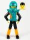 Minifig No: tech027a  Name: Technic Figure Orange/Black Legs, Orange Torso with Silver Pattern, Black Arms, Black Hair, Dark Turquoise Helmet and Armor