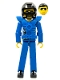 Minifig No: tech033a  Name: Technic Figure Blue Legs, Blue Top with Chest Plate, Black Hair, Black Helmet - without Stickers