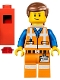 Minifig No: tlm078  Name: Emmet - Lopsided Closed Mouth Smile, with Piece of Resistance and Plate on Leg