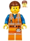 Minifig No: tlm142  Name: Emmet - Lopsided Smile / Angry, Worn Uniform