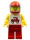 Minifig No: trc005  Name: Trucker - Red Legs, Red Helmet, Trans-Light Blue Visor