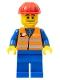 Minifig No: trn002  Name: Orange Vest with Safety Stripes - Blue Legs, Beard Stubble, Red Construction Helmet